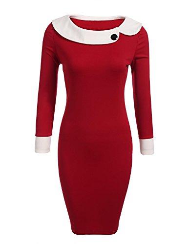 Spandex Sleeve Long Wrap (ANGVNS Women Long Sleeve Bodycon Wrap Pencil Midi Dress Wine Red Large)