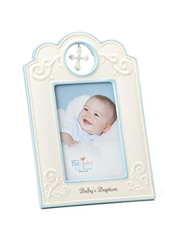 (DEMDACO Blue Baby's Baptism 6.75 x 9.75 Porcelain Picture Frame )