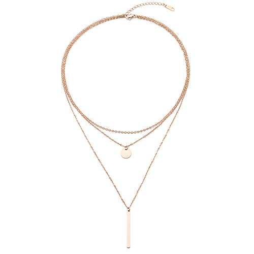 LETTARIUS Disc Bar Pendant Layering Necklace Stainless Steel Rosegold Cute Charm Multi Layered Chain Choker Collar Fashion Statement Jewelry for Women Girls X09RG