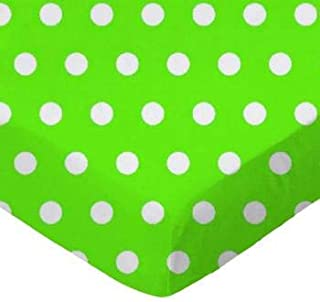 product image for SheetWorld 100% Cotton Percale Crib Sheet Set 28 x 52, Polka Dots Lime, Inlcudes 1 Fitted, 1 Flat, 1 Toddler Pillow Case, Made in USA