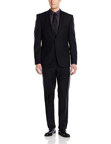 Vince Camuto Men's Two Button Slim Fit Solid Suit, Black, 38 Short by Vince Camuto