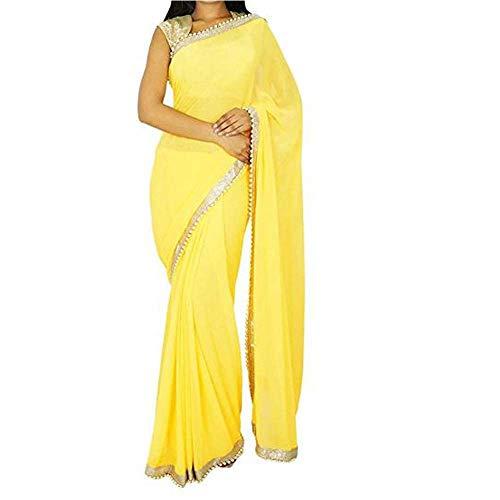 Sharvgun Women's Pure Chiffon Plain Colors Border Indian Bollywood Saree (Sari) with Unstitched Blouse Piece Yellow