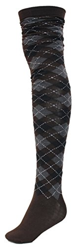 Sexy Legs Women's Thigh High Over The Knee Socks, 70% Cotton, (Brown, Black Argyle)
