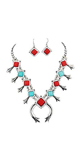 Jayde N' Grey Navajo Turquoise Southwestern Squash Blossom Necklace (Red Turquoise)
