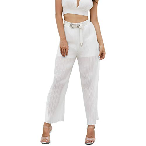 Eleganti Pantaloni Zhrui Donna Alta Vita Chiffon Bianca pSpgqxIwF