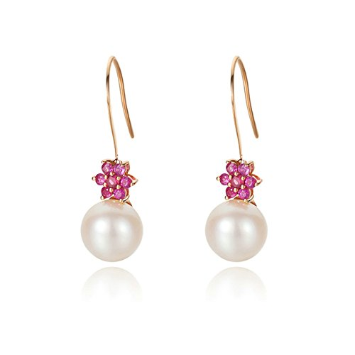 Daesar Rose Gold Earrings 18K Stud Earrings for Women Flower Pearls Dangle Earrings Wedding by Daesar