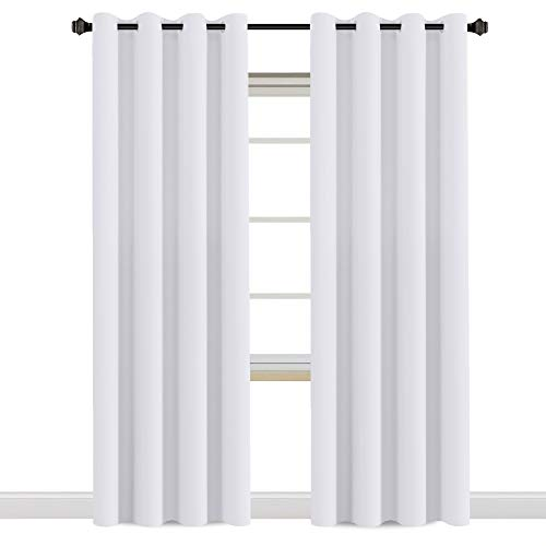 Cheap H.VERSAILTEX White Curtains 96 inches Long Window Treatment Panels/Drapes for Living Room, Set of 2, Grommet Top