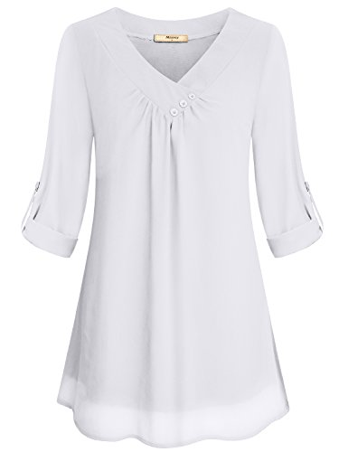 Chiffon Tops for Women,Miusey Ladies 3/4 Sleeve Shirts V Neck Flowy Tunics Relaxed Fit Elegant Peasant Blouse Casual Summer Modern Stylish Trapeze Crepe Blouses Layered Hem Clothes with Button White M