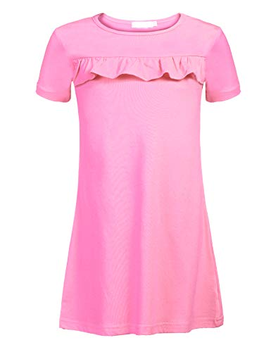 Balasha Girls Ruffled Short Sleeve Casual Dress, 1_pink, 4-5 Years