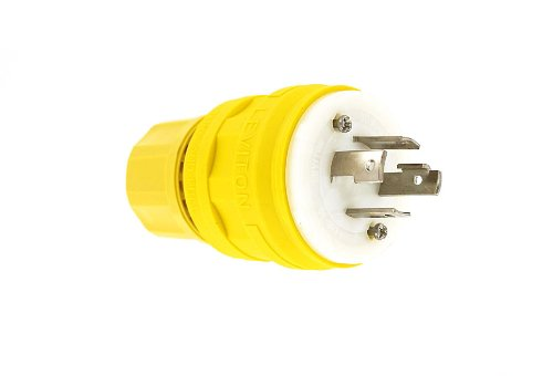 Leviton 28W76 30 Amp, 480 Volt- 3PY, Locking Plug, Industrial Grade, Grounding, Wetguard, Yellow