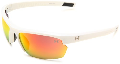 Under Armour Under Armour Stride XL Rectangle Sunglasses, Shiny White Frame/Gray & Orange Multiflection Lens, One Size