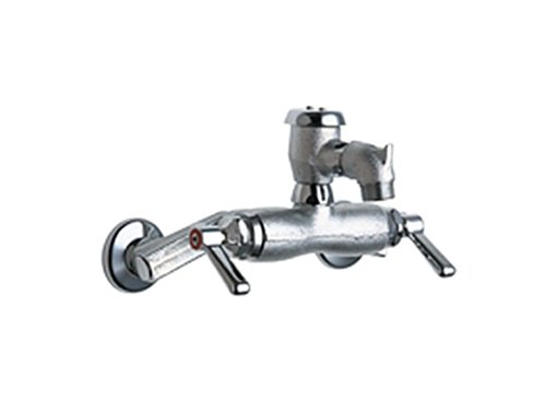 Chicago Faucets 305-VBRRCF Wall Mount Service Sink Faucet with Adjustable Centers, Rough (Chicago Faucets Chicago Wall Mount Faucet)