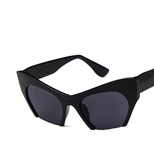Fashion Sunglasses for Men Women, Haluoo Unisex Square O Cat Eye Sunglasses Irregular Shades Retro Vintage Style Cateye Glasses Outdoor Driving Eyewear Sun Glasses (Black)