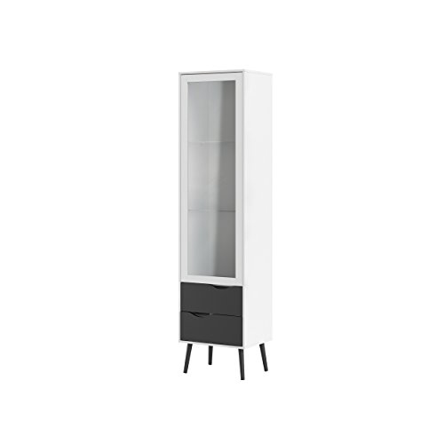 Tvilum 7546149gm Diana 2 Drawer and and 1 Door Glass China Cabinet, White/Black Matte by Tvilum (Image #3)