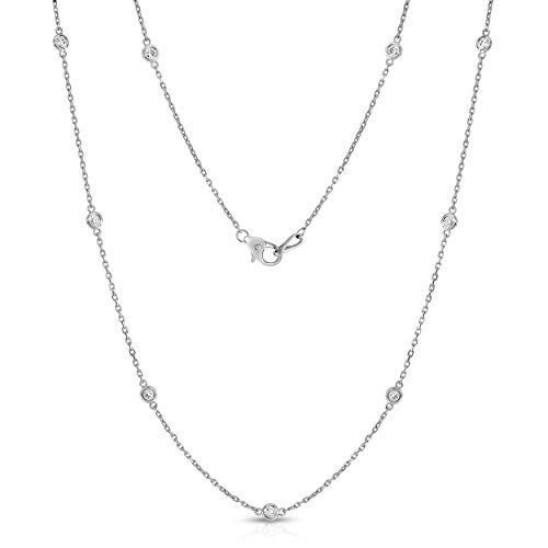 Noray Designs 14K White Gold Diamond 10 Station Necklace (1 Ct, G-H, I1-I2), 18 ()