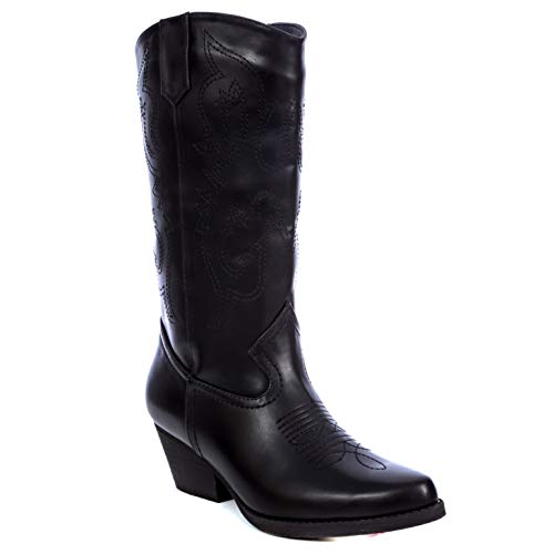 Charles Albert Women's Western Style Embroidered Cowboy Boot in Black Size: ()