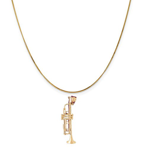 14k Yellow Gold Trumpet Pendant on a 14K Yellow Gold Curb Chain Necklace, 16