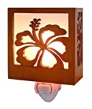 Hibiscus Wood Tropical Night Light 3.5'' X 3.25''