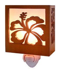 Hibiscus Wood Tropical Night Light 3.5