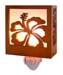 Hibiscus Wood Tropical Night Light 3.5'' X 3.25''