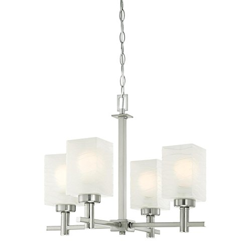 Westinghouse 6302400 Ingram Four-Light Indoor Chandelier, Brushed Nickel Finish with Wavy White Glazed Glass Westinghouse Nickel Chandelier