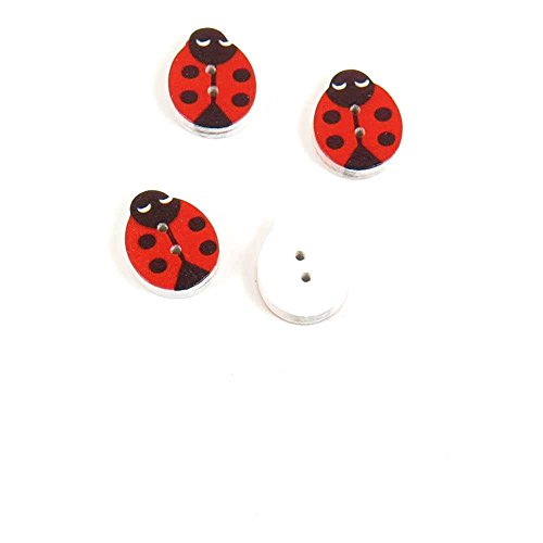 Price per 20 Pieces Sewing Sew On Buttons AKRD7 Four Ladybug
