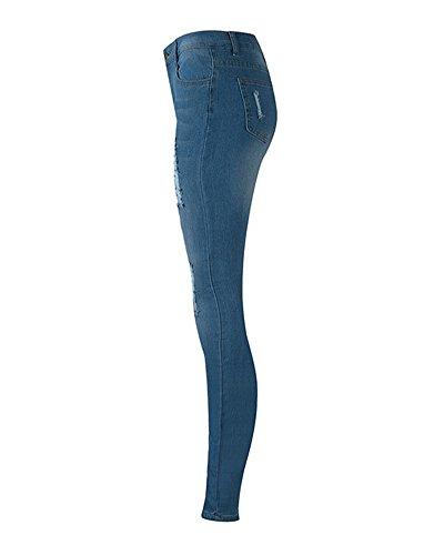 Jeans Bleu Slim Leggings Printemps Haute Dchirs Denim Crayon Femme Taille Collant R6qv4wnEP