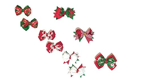 Christmas Grosgrain Bows: Girls Hair Bow Alligator Clip Accessories for Holidays, Parties, Gifts, Decorations - 6 Assorted Single and 2-Packs (3 of each, 9 Hairclips total)