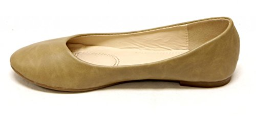 Bella Marie Womens Comfortable Classical Ballerina Flats Round Toe Slip On Shoes Taupe 0sV9dAp