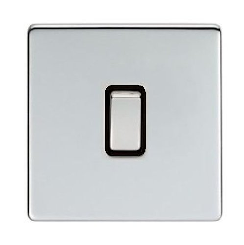 Eurolite, Screwless, Flat Plate, Polished Chrome, 1 Gang 2 Way, Single Light Switch with Matching Polished Chrome Switches by Eurolite