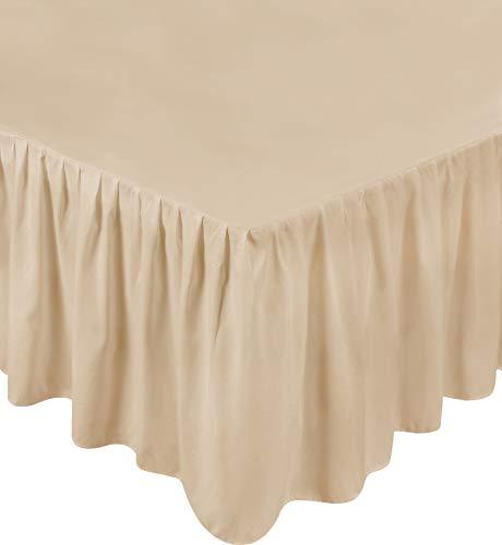 Utopia Bedding Bed Ruffle Skirt - Brushed Microfiber Bed Wrap (Queen, Beige)