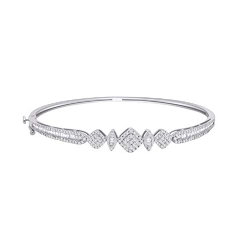 IGI Certified 0.95 Ct Round & Baguette Shape Diamond Cluster Style Bangle Bracelet In 14K Gold (white-gold)