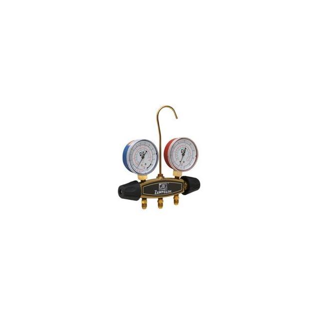 JB 23017 Zeppelin 2 Valve Brass Manifold w/R 12, R 22, R 502   2 1/2 Gauges   CCLS 60 Hoses