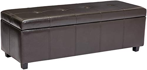 Red Hook Meknes Large Rectangular Faux-Leather Storage Ottoman Bench, Dark Cocoa