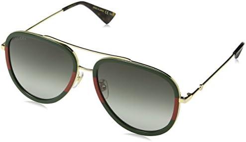 110eb865724 Gucci GG0062S 003 Gold   Green GG0062S Aviator Sunglasses Lens Category 3  Size
