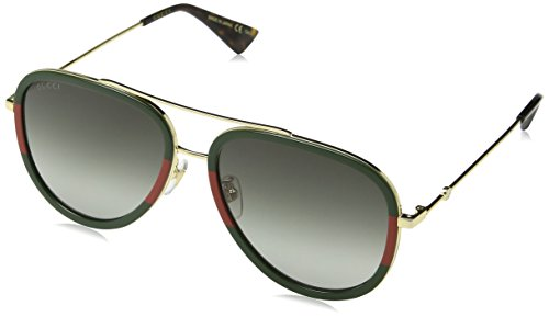 Gucci GG0062S 003 Gold / Green GG0062S Aviator Sunglasses Lens Category 3 Size by Gucci