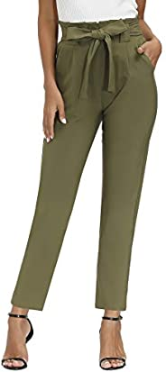 Yidarton Womens Cropped Pants Paper Bag Waist Self-tie Belted Pants Casual Trousers with Pockets