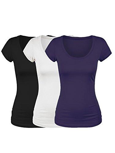 (Emmalise Women's Short Sleeve Tshirt Scoop Neck Tee Value Set (3Pk, Blk, Wht, Purple, Medium))