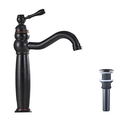 BWE Single Hole Lever Bathroom Vessel Sink Faucet Matching Pop Up Drain Without Overflow Oil Rubbed (Waterfall Bar Sink Faucet)