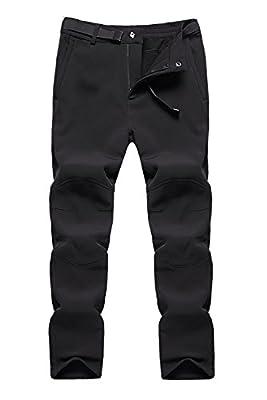 BenBoy Women's Outdoor Waterproof Windproof Fleece Cargo Snow Ski Hiking Pants,US3369W Black M