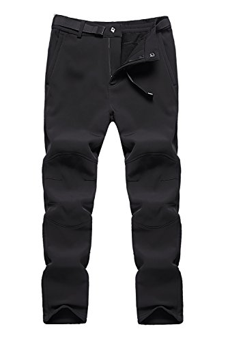 BenBoy Women's Outdoor Waterproof Windproof Fleece Cargo Snow Ski Hiking Pants,US3369W Black L