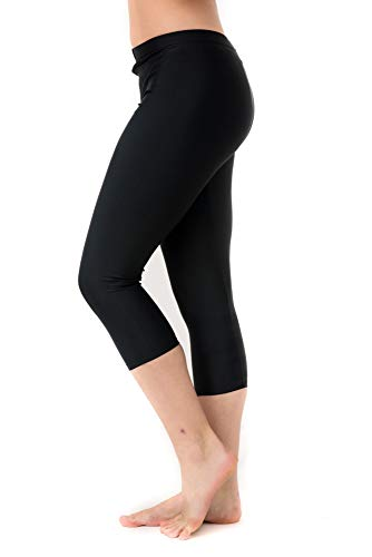 Undercover Waterwear Women's Swim Leggings Athletic Capris- UV Protection Cover Up Swim Tights- Plus Size Too (X-Large- Plus Size, Black)