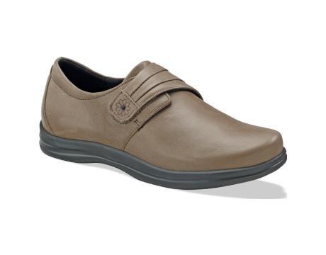 Apex Petals A832W Women's Therapeutic Diabetic Extra Depth Shoe Leather Velcro - Taupe 7 C/D US ()