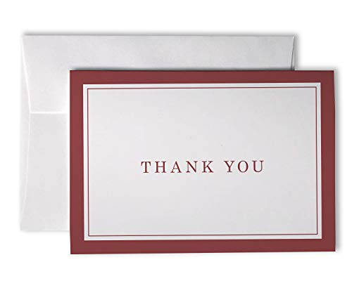 Formal Striped Thick Border Thank You Cards - 48 Cards & Envelopes (Red Border)