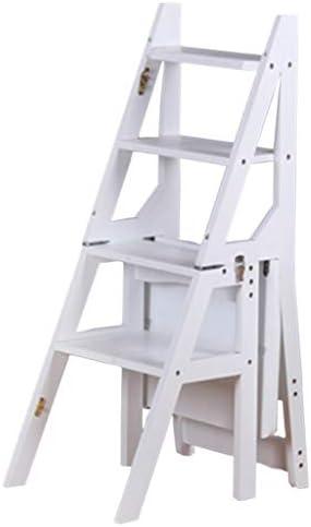 4 Pasos, Escalera Plegable de Madera Maciza Escalera para Taburete, Escalera de Madera de Interior para Adultos Estantes para Plantas Jardín Herramienta Resistente, Cojinete de Carga 120 kg: Amazon.es: Hogar