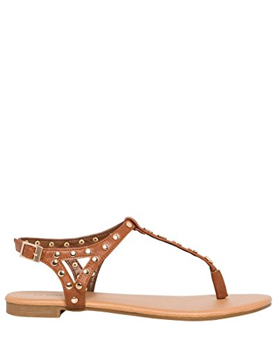 LE CHÂTEAU Women's Embellished Leather-Like Thong Sandal,8,Dark Tan