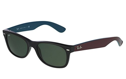 Ray-Ban RB2132 New Wayfarer Non Polarized Sunglasses, Matte Black (Blue/Purple arms), Green 55 - Arms Ray Ban