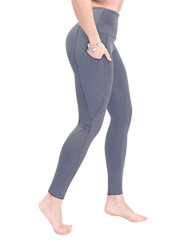 Yoga Pants with Pocket for Women High Waisted Workout Leggings Soft Tummy Control Joggers Leggings (Medium, Gray)