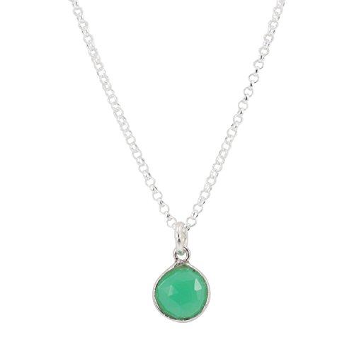 Sterling Silver Chrysoprase Gemstone Necklace, #6300-ss