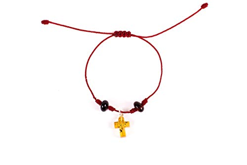Red Hand-Knotted Bracelet with Hand Carved Mexican Amber Cross Charm and Red Amber Beads for Good Luck and Protection Adjustable Unisex bracelet Perfect gift for Women or Men
